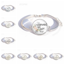 She Believed Could So Did Literary Quotes Glass Dome Cabochon Bracelet Handmade Silver Color Jewelry Gift For Women Girl