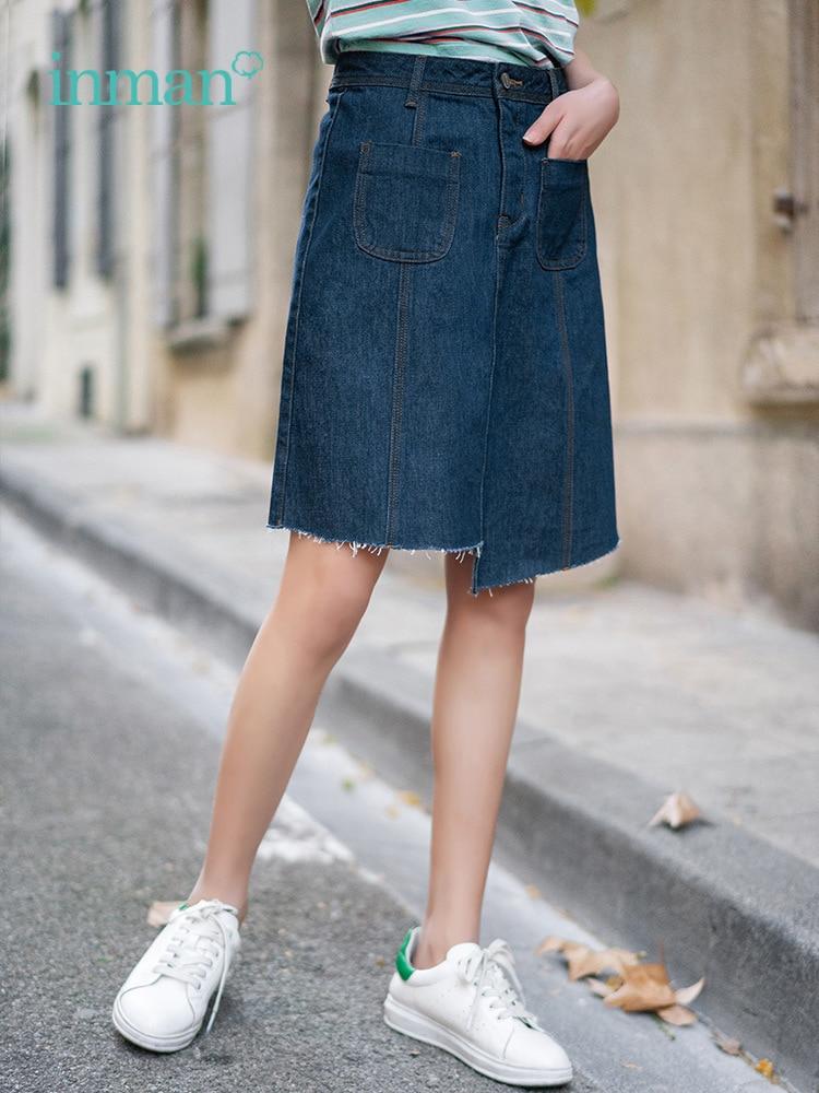 INMAN Summer New Arrival High Waist Slim Korean Fashion Irregular Women Short Jean Skirt