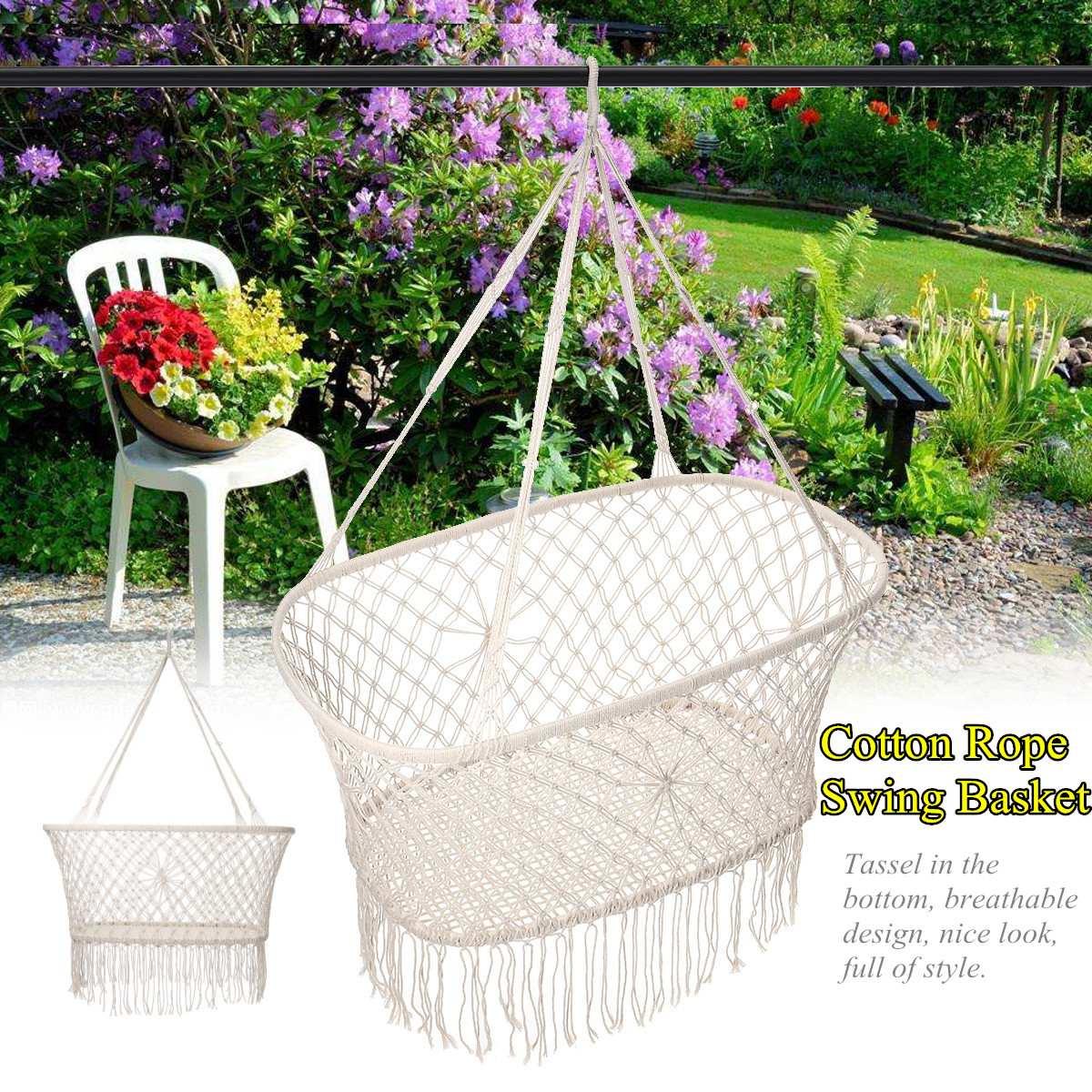 Corde de coton gland hamac chaise balançoire hamac enfants bascule sommeil lit intérieur extérieur suspendu seste enfant balançoire siège - 6
