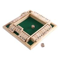 2019 New Wooden Traditional Four Sided 10 Numbers Pub Bar Board Dice Game Set Kids Family Educational Toys Table Dice Game