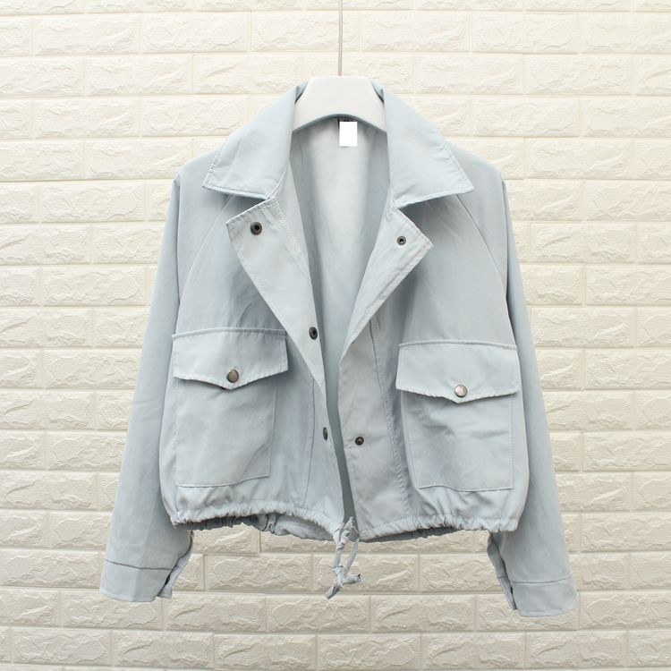 5 Colors Autumn Women   Basic     Jacket   Fashion Pocket Casual Cropped   Jacket   Turn-Down Collar Loose Outerwear Solid   Jacket   Coat