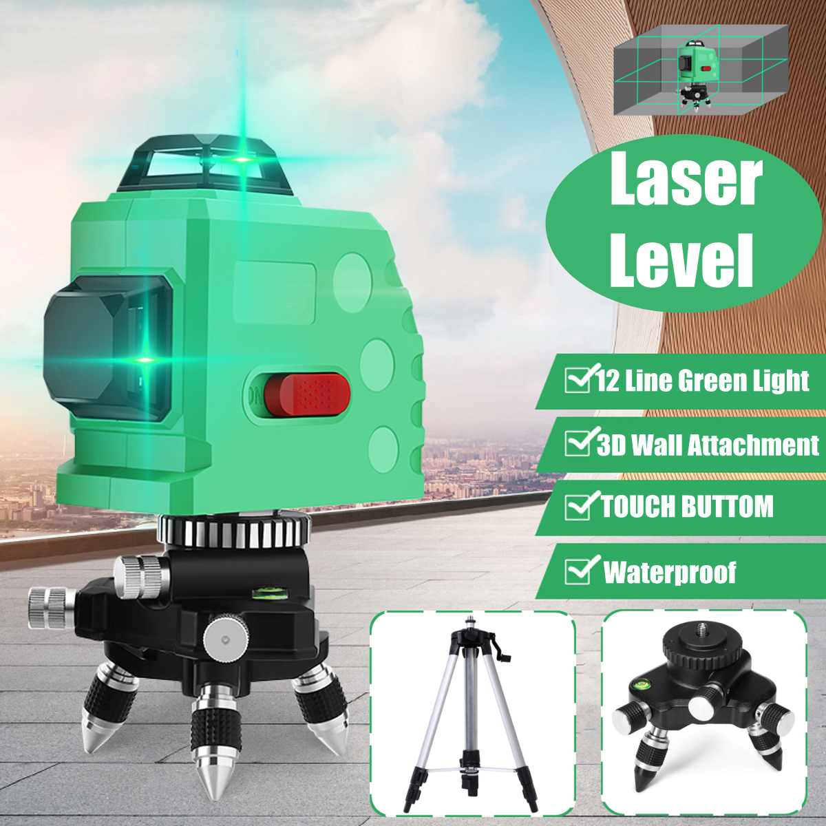 12 Line 360 Horizontal Vertical Cross 3D Green Light Laser Level Self-Leveling Measure Super Powerful Laser Beam12 Line 360 Horizontal Vertical Cross 3D Green Light Laser Level Self-Leveling Measure Super Powerful Laser Beam