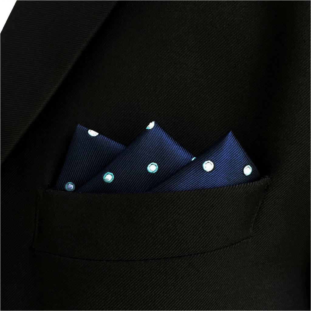 EH24 Blue Men's Pocket Square Dots Dress Classic Handkerchief Wedding Fashion Hanky
