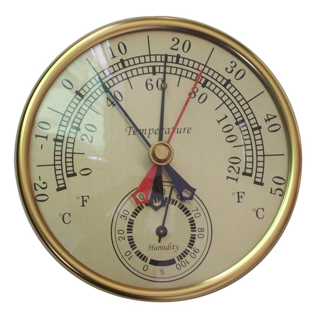 Max Min Vintage Brass Thermometer Multifunctional Humidity Hygrometer Meter Indoor Outdoor Garden Greenhouse 12/413/3