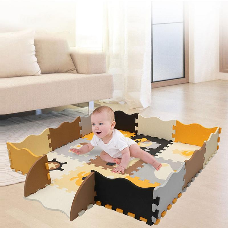 Baby Cartoon Foam Play Puzzle Mat With Fence - Interlocking Crawling Mat With 23 Foam Floor Tiles For Kids