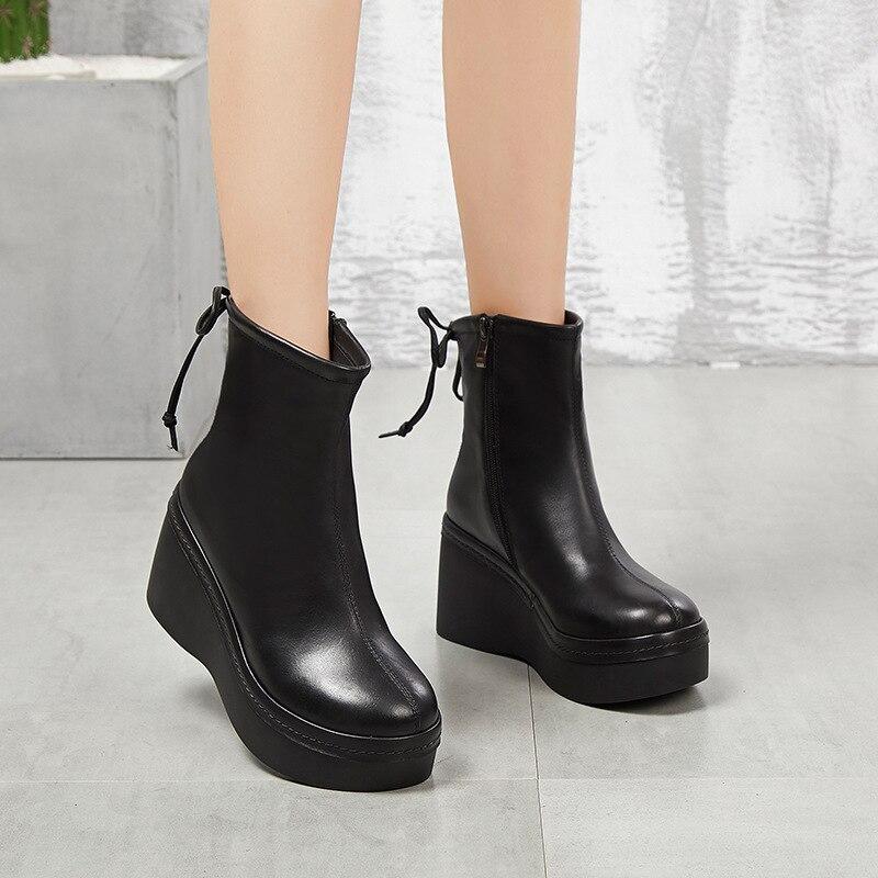Eva Alto Plataforma Cuero Black Mujer Botas Primera brown Cuña Nueva Capa Zapatos De Tacón dAI4qw5