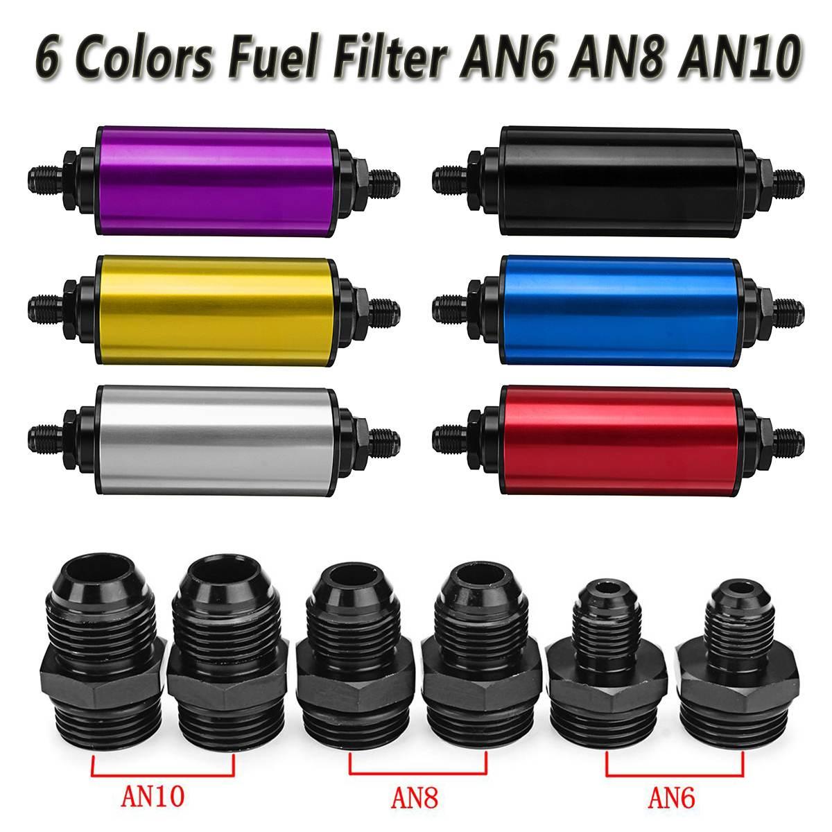 Universel 6 couleurs 100 Micron nettoyable SS AN6 AN8 AN10 raccords adaptateur Auto en ligne filtre à mazout haut débit