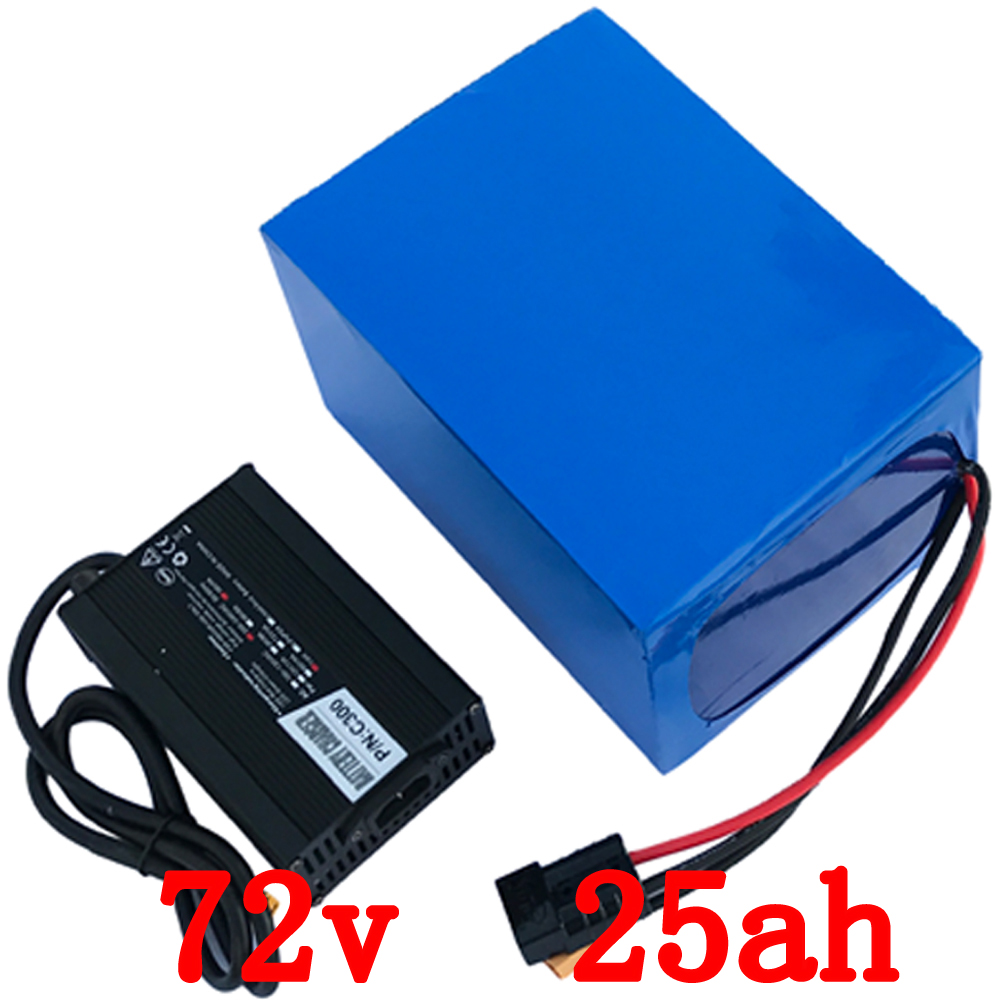 US EU NO tax 72V 25AH Electric Balance Bike Battery 72V 3000W Lithium Battery Pack with 50A BMS and 84V 5A charger