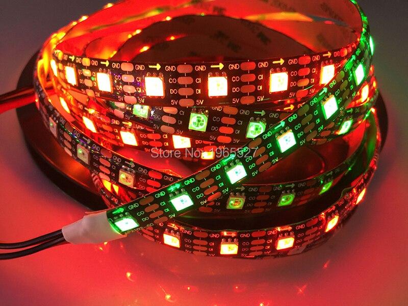 5 M APA107 60 Pixels/LED s/m Smart LED lumière de bande de Pixel, bande adressable noir/blanc PCB, similaire APA102 IC; étanche IP65 DC5V