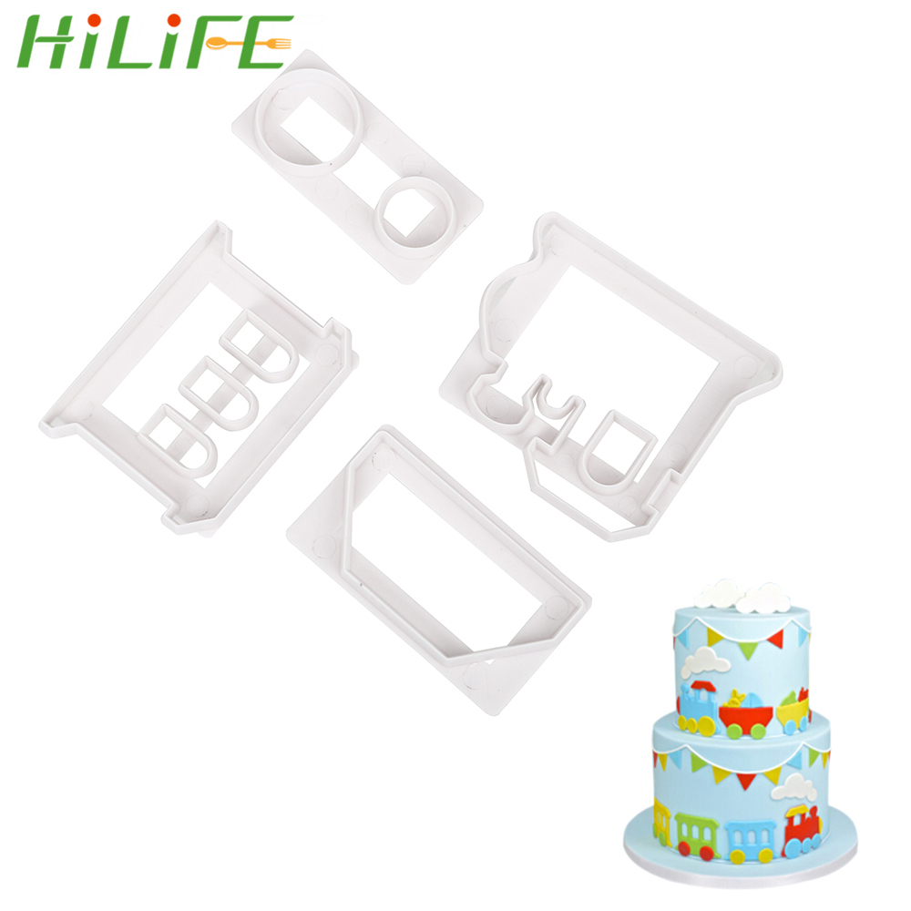 HILIFE 4pcs/set Fondant Cake Mold Biscuit Mold Cookie Cutter Cake Decorating Small Train Baking Tools
