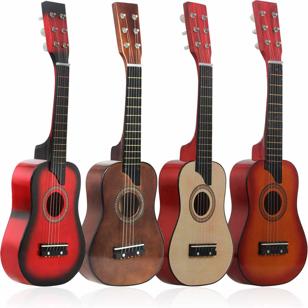 25 inch Mini Wooden Guitar Acoustic 6 String with Carrying Bag Musical Instrument Toy Children Educational Musical Gift(China)