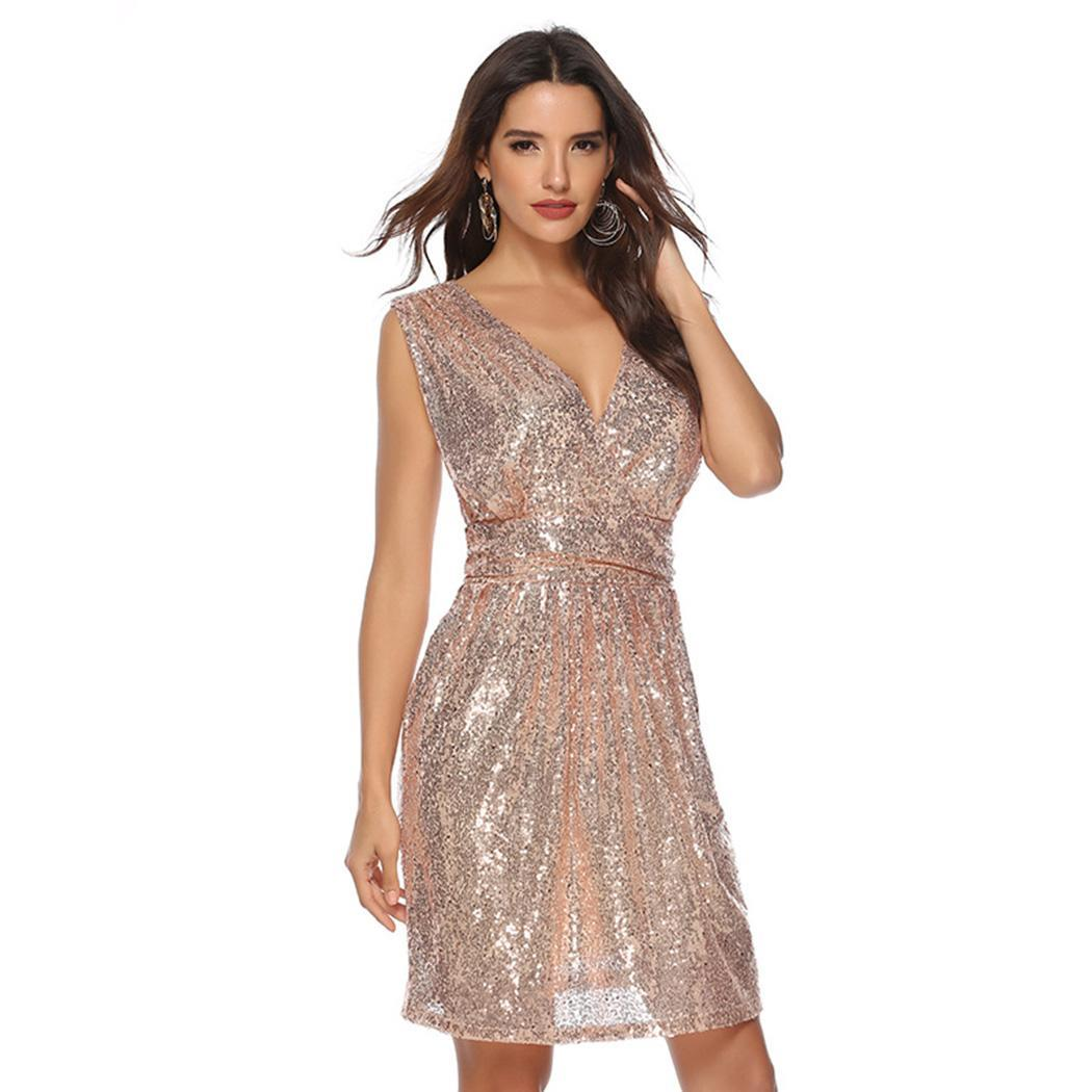 AL'OFA Women Sexy Cocktail Dress Solid V-Neck Sleeveless Sequins High Waist Dress Party Gown Homecoming Dresses(China)
