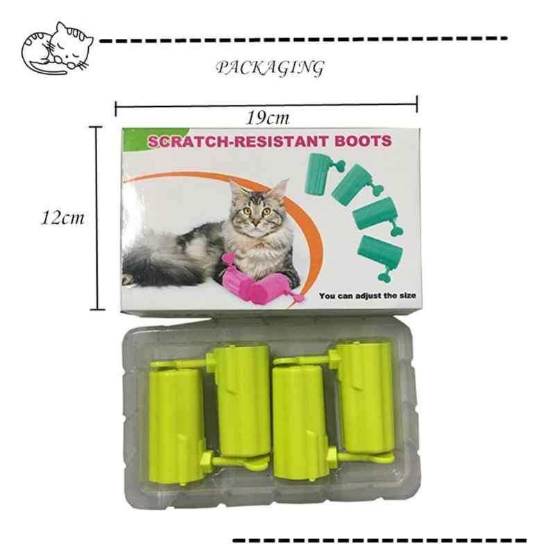 4 шт./компл. регулируемые пэт кошачьи перчатки против царапин сапоги лапа накладные ногти инструменты предотвращают царапины безопасная удобная обувь для кошки