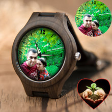 Family Lover Personality Custom Engraving Watch Photos UV Printing Bamboo Wooden Watches Presents For Men Unique Gift Dropshippi