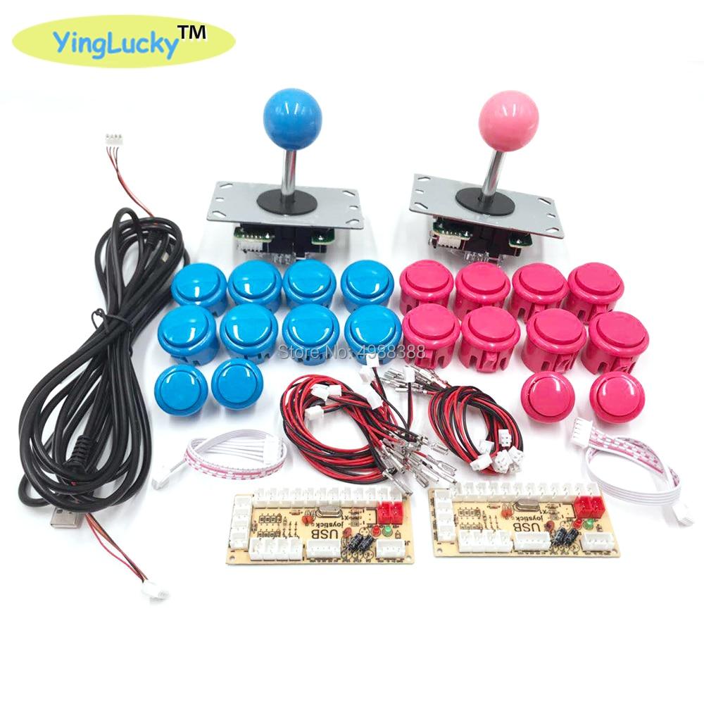 yinglucky 2 Players Arcade DIY Kit Zero Delay USB Encoder sanwa Joystick sanwa 33mm Push Button PC Mame Raspberry pi 1 2 3