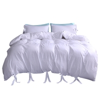 New Solid Color Washed Cotton Soft Quilt Cover Twin Queen King Duvet Cover Pillowcase Three Pieces Home Bedding Set