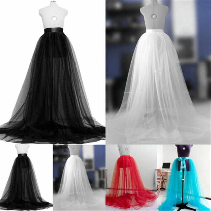 קיץ נשים טוטו רשת חצאית 2019 חדש הגעה ארוך מקסי מלא אורך חצאית מסיבת חתונה לנשף אלסטי מותניים נסיכת טול חצאיות