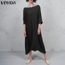 Women Lace Crochet Cotton Dress 2019 VONDA Autumn Vintage Sexy V-Neck  Backless Party Long 5141f27be45c