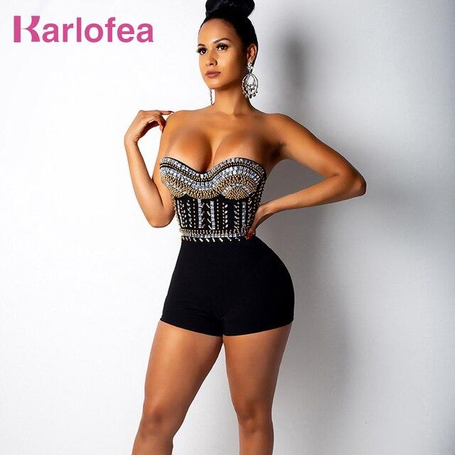 4bda6dd5e2b Karlofea Fashion Women Diamonds Rompers Sexy Strapless Bodycon Rhinestone  Short Jumpsuit Club Party Crystal Black Red Playsuit
