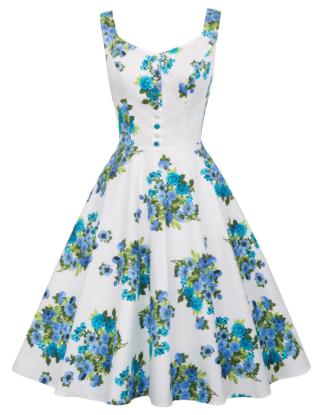 Retro Sleeveless V-Neck Polka Dots Splicing Flared A-Line Picnic Dress