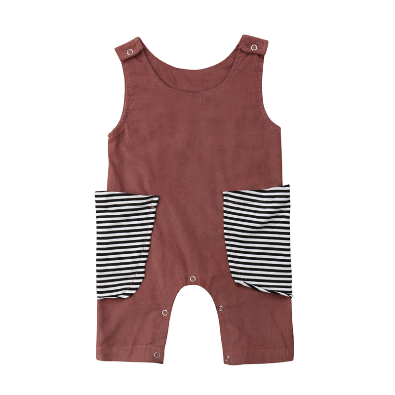 Focusnorm New Fashion Newborn Kids Baby Girl Boy   Romper   Sleeveless Jumpsuit O-Neck Outfits Clothes Summer 0-24M