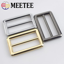 hot deal buy 2pcs meetee 38mm metal bags buckles rectangle tri-ring adjustable slider webbing belt buckles for sewing bag parts accessories