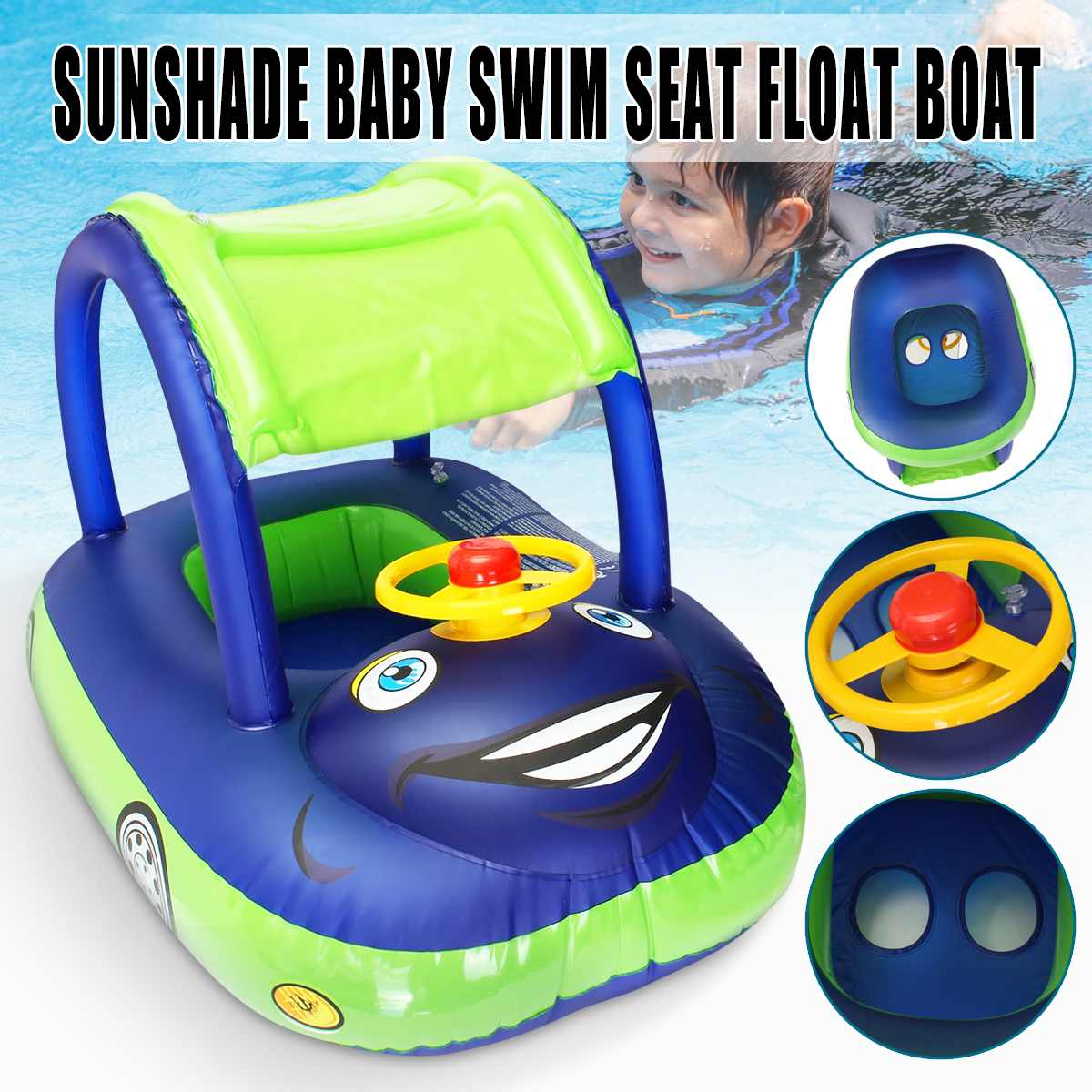 Baby Kids Summer Float Seat Boat Sun Shade Tube Ring Car Swim  Pool For Ages 6-36 Months Baby Load-bearing Water Sport Fun Toys