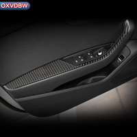 Углеродного волокна Автомобильная наклейка для внутреннего интерьера украшения двери окна переключатель крышка планки для Audi a4 b9 аксессуа