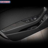 Углеродного волокна Автомобильная наклейка для внутреннего интерьера украшения двери окна переключатель крышки Планки для Audi a4 b9 аксессуа