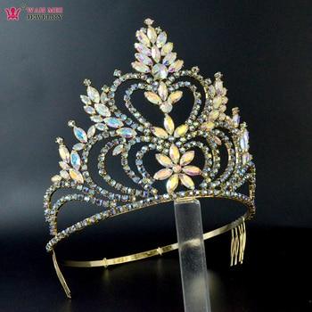 Crowns Tiaras 5.5 Inches Adjustable Headband Comb Bridal Wedding Hair Jewelry  Pageant Crown Australian Colour Rhinestone Mo257 недорого