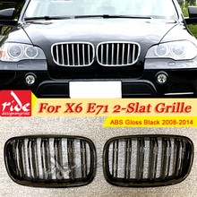 1 Pair E71 Front Grille ABS Gloss Black For X6 2-Slats M-Style Kidney SUV vehicle xDrive50i xDrive30d 2008-2014