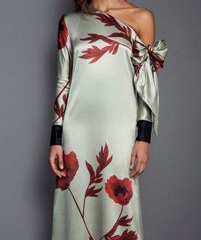 Party Night Print Dresses Spring Elegant Long Sleeve Maxi Dress
