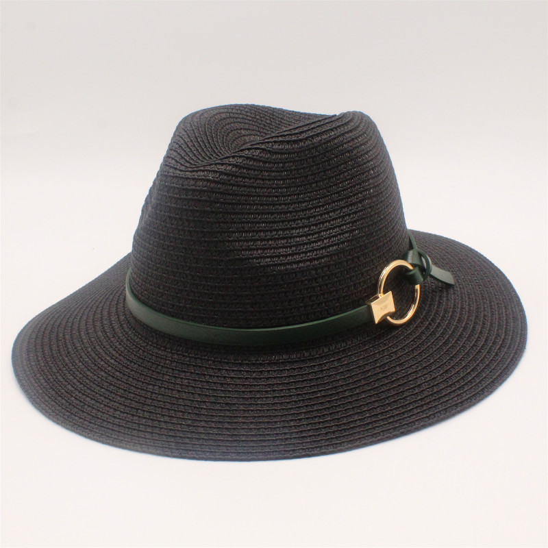 Black Panama Hats For Men Straw Sun Hats Women Beach CAPS Couple Sun Visor Hats Wide Brim Summer Fedora Jazz Cap Chapeu