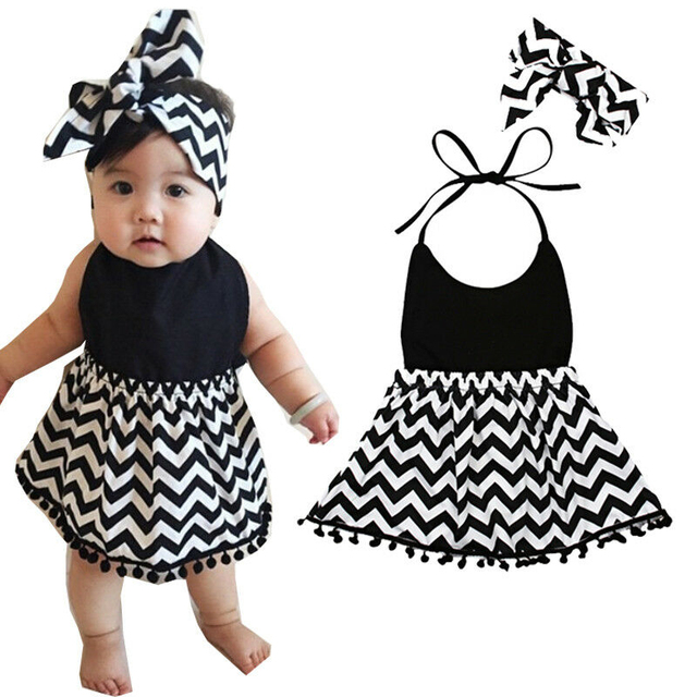 b72a8af761ad 2019 Newborn Baby Girls Dress Summer Halter Sleeveless Patchwork Wave  Striped Black Headband Outfit Clothes Sundress 2PCS