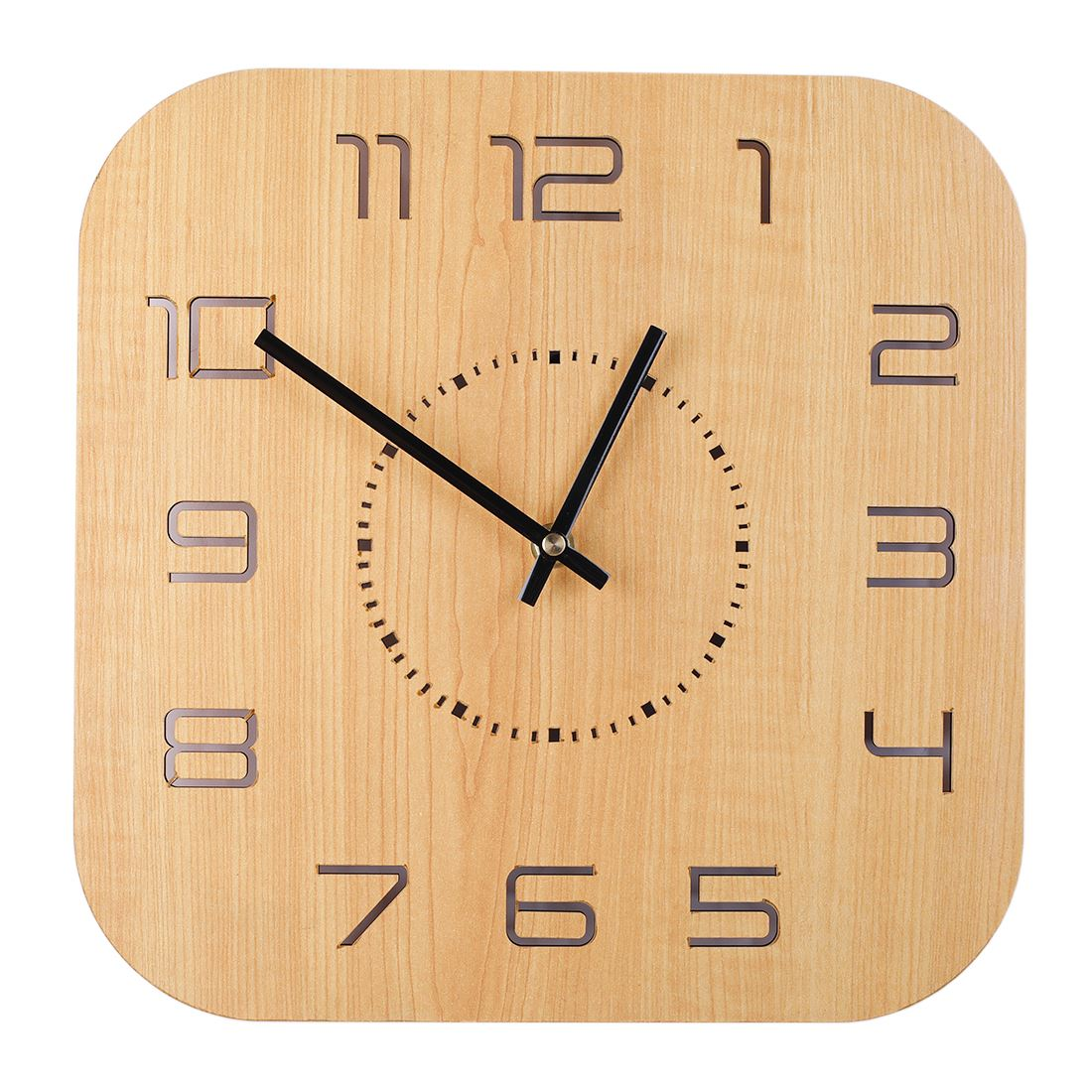 New Fashion 30*30cm Square Hollow Hanging Clock Silent Wall Clock for Home Living Room Office Household Decor Light Wood