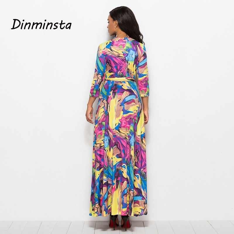 811c3bc2b ... Dinminsta Women Floral Print Loose Long Dress Bohemian Floor Length  Casual Frocks Female Plus Size 2019