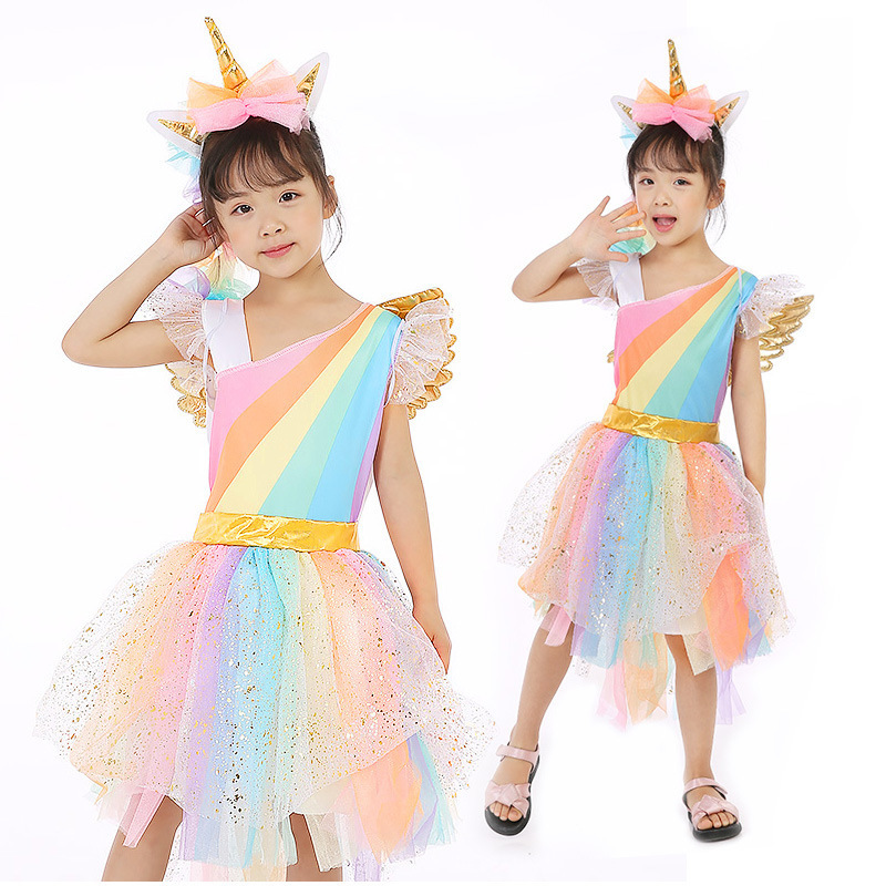 new year Christmas halloween costumes for girls unicorn Fantasy children child fancy rainbow unicorn kids baby tutu dress party