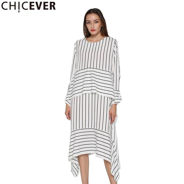 CHICEVER Striped Casual Dress Women Long Sleeve Midi Dresses Female Lace up Bandage Asymmetrical Clothing Korean Autumn 2020 New