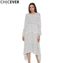 CHICEVER çizgili rahat elbise kadınlar uzun kollu Midi elbiseler kadın Lace up bandaj asimetrik giyim kore sonbahar 2020 yeni