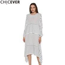 CHICEVER مخطط فستان كاجوال المرأة طويلة الأكمام فساتين متوسطة الطول الإناث الدانتيل يصل ضمادة غير المتكافئة الملابس الكورية الخريف 2020 جديد