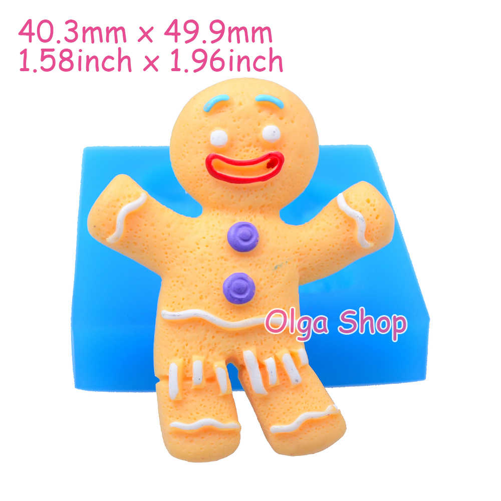 Jyl144 49 9mm Christmas Gingerbread Man Silicone Mold Fondant Cake Topper Cookie Biscuit Resin Clay Baking Tools Candy