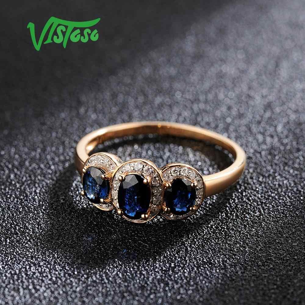 VISTOSO Vàng Cho Nữ, Nhẫn Nữ Chính Hãng 14K 585 Hoa Hồng Nhẫn Kim Cương Lấp Lánh Xanh Sapphire Đính Hôn Kỷ Niệm Mỹ Trang Sức
