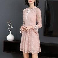 2019 New Spring Women dress Patchwork Slim Lace Fat Elegant Black Fungus Dresses Pink 6112