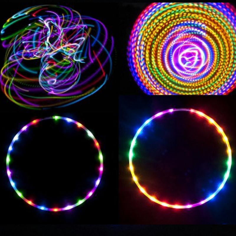 LED Hoops Detachable Colorful Fitness Circle Performing Abdominal Fat Loss Light Fitness Crossfit Equipments Massage Hoop Sport