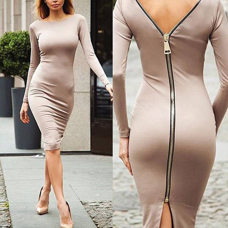 Summer <font><b>Sexy</b></font> Split <font><b>Dress</b></font> Women Casual Slim Zippers Midi <font><b>Dress</b></font> 2020 Autumn <font><b>Long</b></font> Sleeve Knee-Length <font><b>Elegant</b></font> Party Bodycon Vestidos image