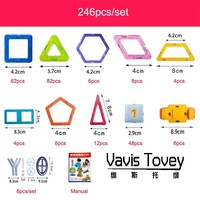 Vavis Tovey New 246pcs Designer Construction Set Model & Building Toy Plastic Magnetic Blocks Educational Toys Kids Gift