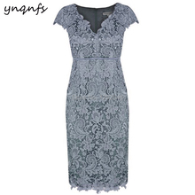 5d0c345a814e YNQNFS MD405 V Neck Party Formal Dress Vintage Tea Length Wedding Guest  Wear Mother of Bride