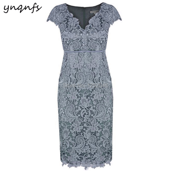 YNQNFS MD405 V Neck Party Formal Dress Vintage Tea Length Wedding Guest Wear Mother of Bride Dresses Lace Outfits Gray 2019