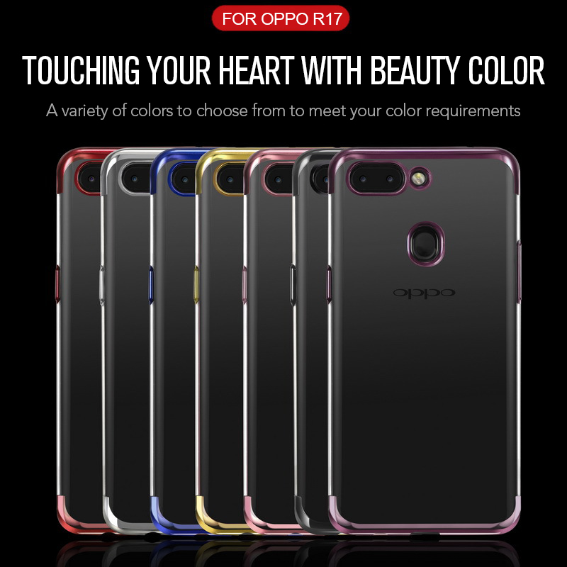Luxury Transparent TUP clear Case for OPPO R17 Electroplated purple three-stage Soft Back Cover Case For OPPO R17 Coque