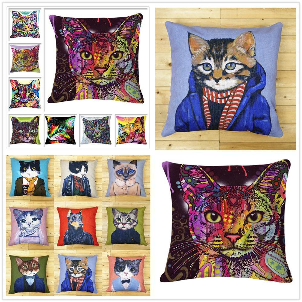 Hot Sale Bedding Pillowcase Car Chair Couch Cushion Lovely Cat Cartoon Decorative Pillow Cozy Cotton Linen Cushion Without Core